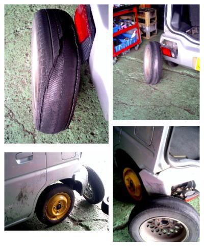 ひび割れたタイヤでバンパーを破損